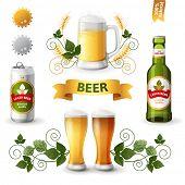 image of emblem  - Set of bright beer emblems - JPG