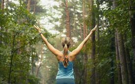 stock photo of athletic woman  - healthy lifestyle fitness sporty woman running early in the morning in forest area fitness healthy lifestyle concept - JPG