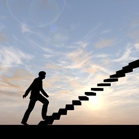 image of leadership  - Concept conceptual 3D male businessman on stair or steps over sunset sky background - JPG