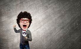 stock photo of screaming  - Funny young man with big head screaming emotional - JPG