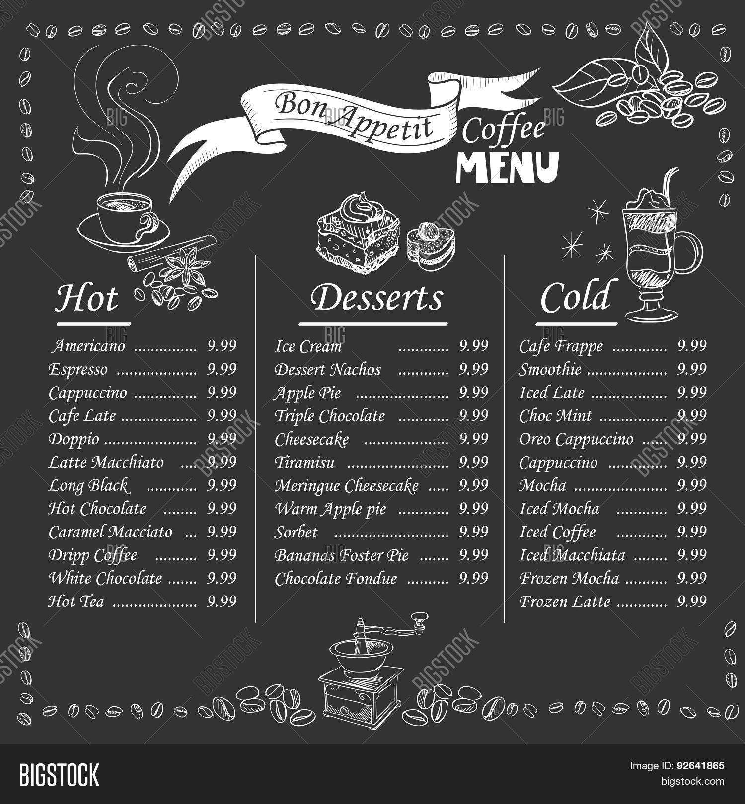 irish menu templates - coffee menu on chalkboard vector photo bigstock