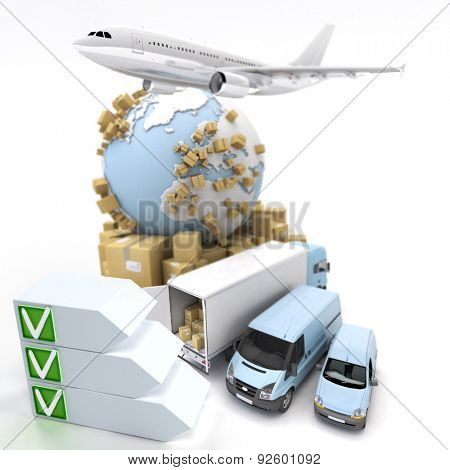 3D rendering of an international transportation theme with a checklist