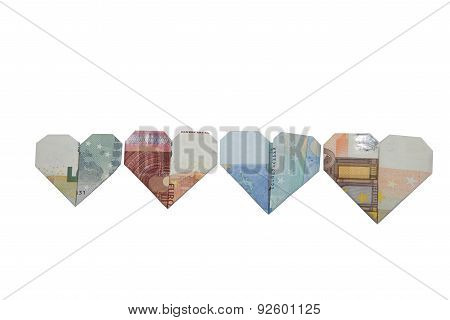 Euro bank notes heart origami