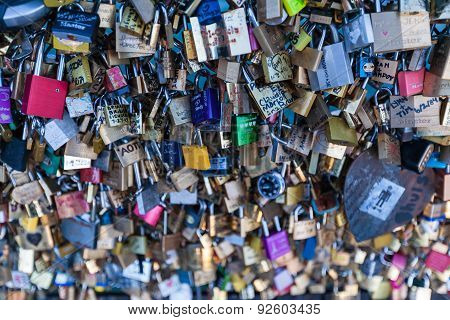 Love Locks On A Bridge In Paris