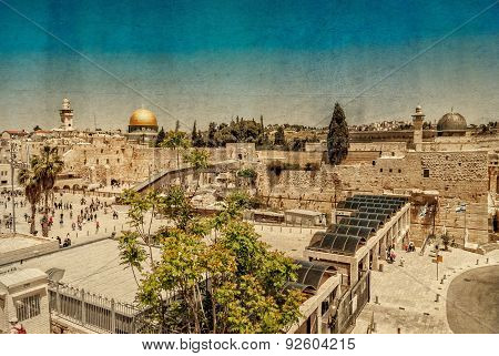 Western Wall,temple Mount, Jerusalem. Photo In Old Color Image Style.