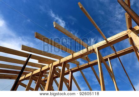 Installation Of Wooden Beams At Construction The Roof Truss System