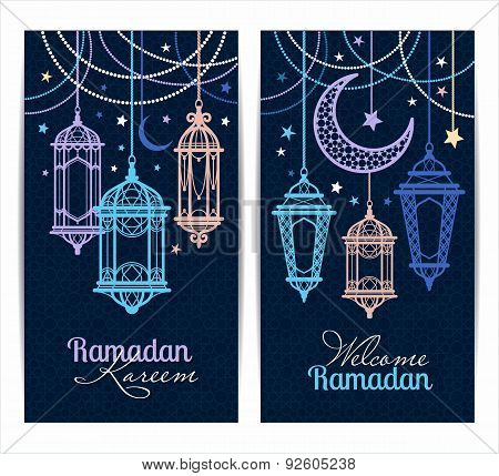 Ramadan Kareem. Islamic Background. Lamps For Ramadan. Banners Set.