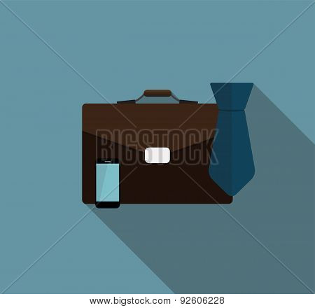 Business Proces Icon Flat Icon with Long Shadow, Vector Illustra