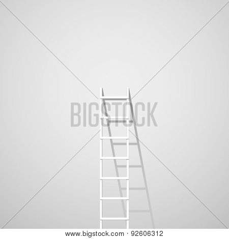 White ladder against wall vector illustration