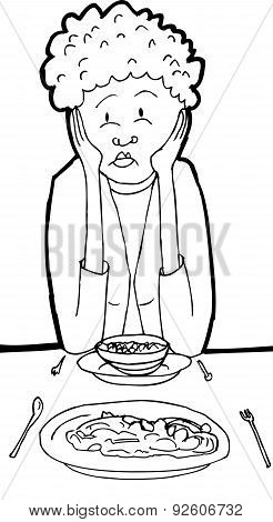 Outline Of Lady Eating Lunch