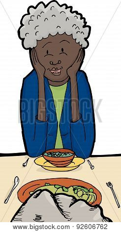 Woman Eating With A Rock