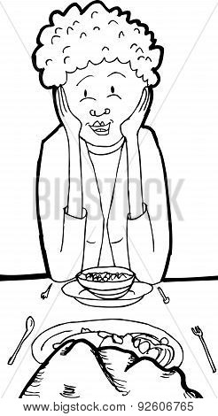 Outline Of Lady Eating With A Rock