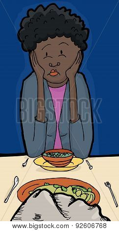 Woman At Dinner With A Rock