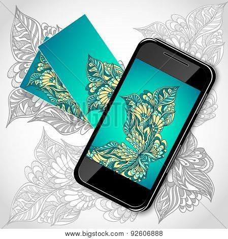 Mobile telephone with flowers screen visit cards in blue green