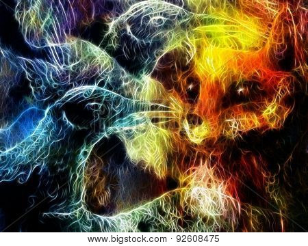 The Phoenix Bird And Fox Collage,  Fractal Effect