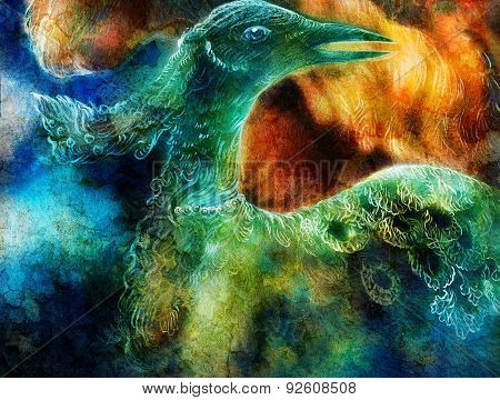 the phoenix bird collage, on abstract background