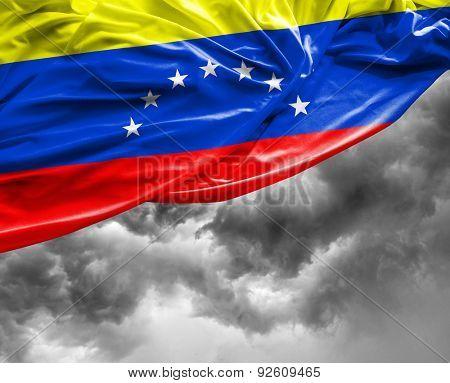 Venezuelan waving flag on a bad day
