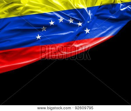Venezuelan waving on black background