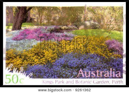 Australien - ca. 2007: Abgebrochene australische Briefmarke: Darstellung Kings Park Botanic Gardens pro
