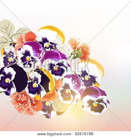 Cute Vector Background  With Bouquet Of Flowers