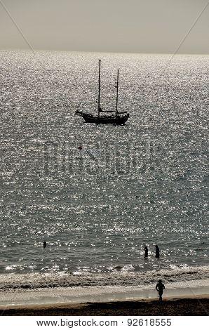 Silhouette Boat in the Ocean