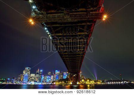 Sydney Harbour Bridge Illuminated With Colourful Light Design, During The Vivid Sydney 2015 Annual