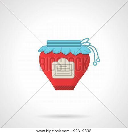 Red jam flat color vector icon