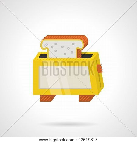Yellow toaster flat color vector icon