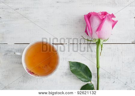Rose And Cup Of Tea