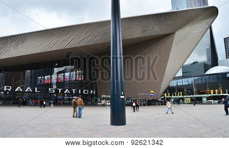 Rotterdam, Netherlands - May 9, 2015: Passenger At Rotterdam Central Station.