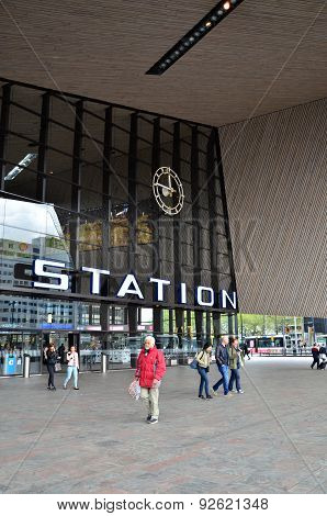 Rotterdam, Netherlands - May 9, 2015: Passengers At Rotterdam Central Station.