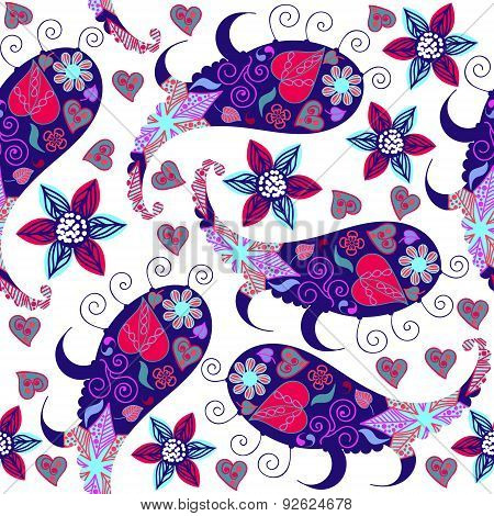 Colorful Funny Paisley Seamless Pattern And Seamless Pattern In Swatch Menu, Vector Illustration