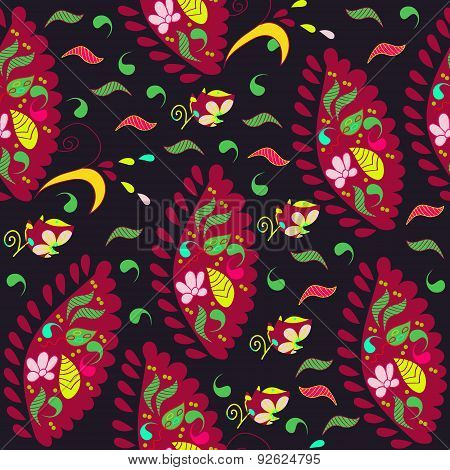 Colorful Paisley Seamless Pattern In Dark Background And Seamless Pattern In Swatch Menu, Vector Ill