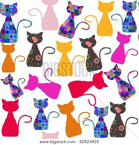 Colorful Adorable Modern Cats Seamless Pattern And Seamless Pattern In Swatch Menu, Vector Illustrat