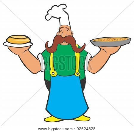 Cartoon cook with pizza and pie in his hands