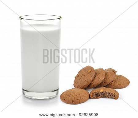 Cookies And Milk On A White Wooden Background
