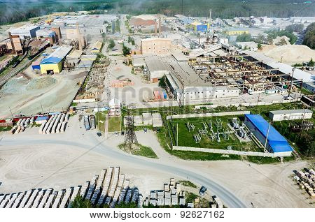 Aerial view on JSC Tyumennerud plant. Russia