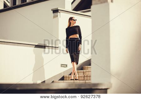 Fashion Outdoor Photo Of Beautiful Ladylike Woman With Long Hair