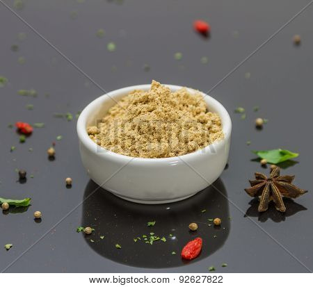 Dried Galangal Powder On The Bowl In Black Background.