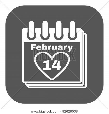 The Calendar Icon. Valentines Day Symbol.