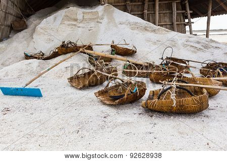 Tools Of The Salt Farmers On Salt Pans.