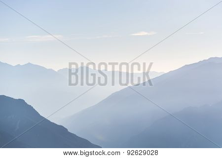 Mountain Silhouette At Sunrise