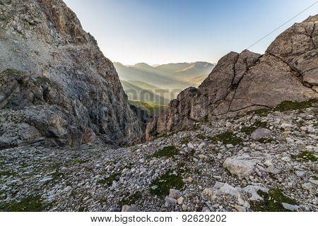 Last Sunbeams On Alpine Valley