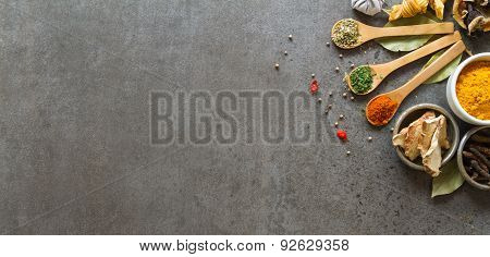 Spices And Herbs In Metal Bowls. Food And Cuisine Ingredients. Colorful Natural Additives .