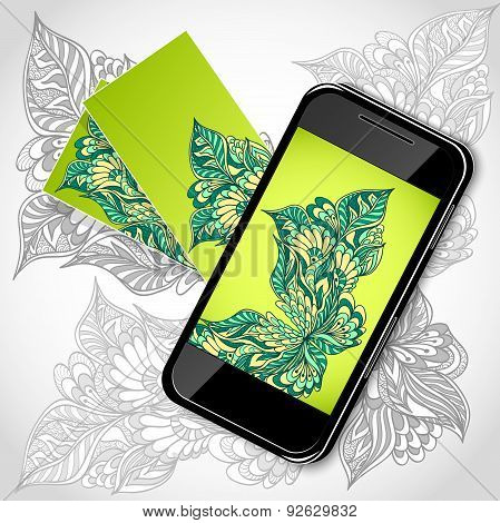 Mobile telephone with flowers screen visit cards in green