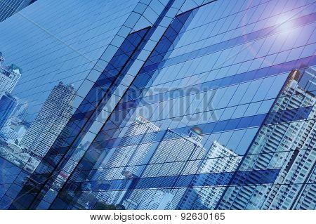 Reflect Of Modern City Building On Window Glass Tower, Bangkok Thailand