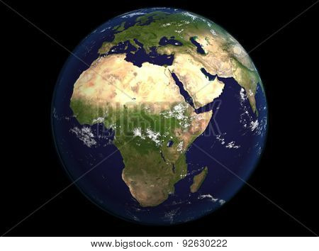 The Earth From Space Showing Europe And Africa. Extremely Detailed Image