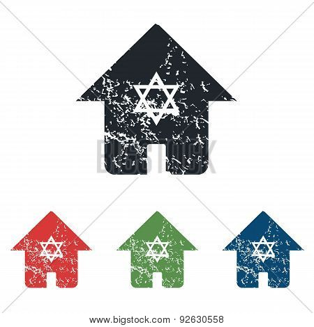 Jewish house grunge icon set