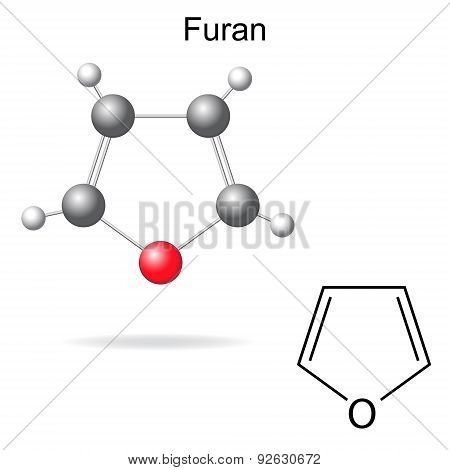 Chemical Formula And Model Of Furan Molecule