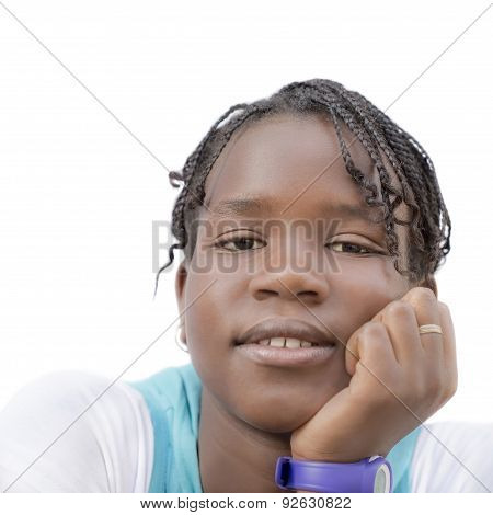 Portrait of an Afro teenage girl, isolated, isolated, no make-up